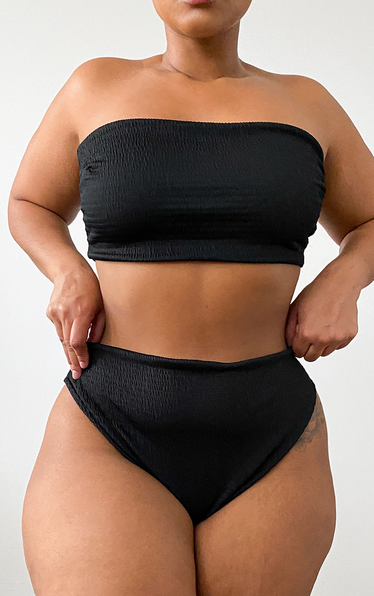 Plus Black Crinkle High Waisted High Leg Bikini Bottoms 11