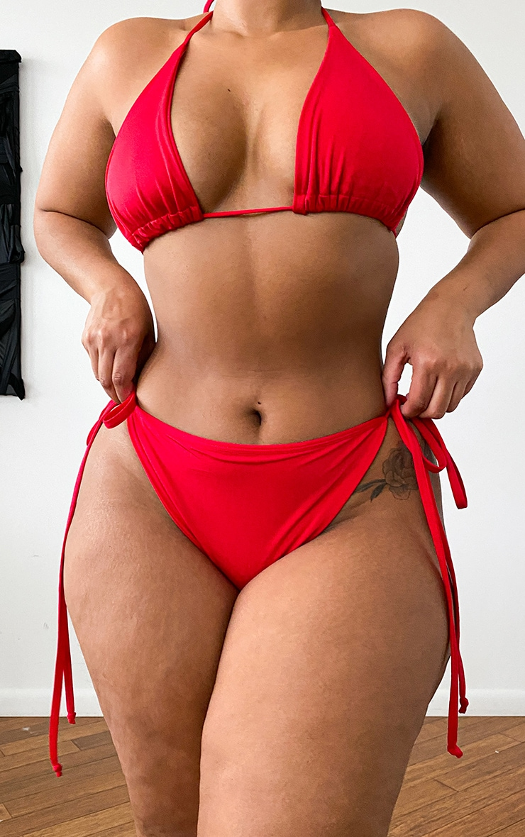 Plus Red Mix & Match String Thong Bikini Bottoms 13