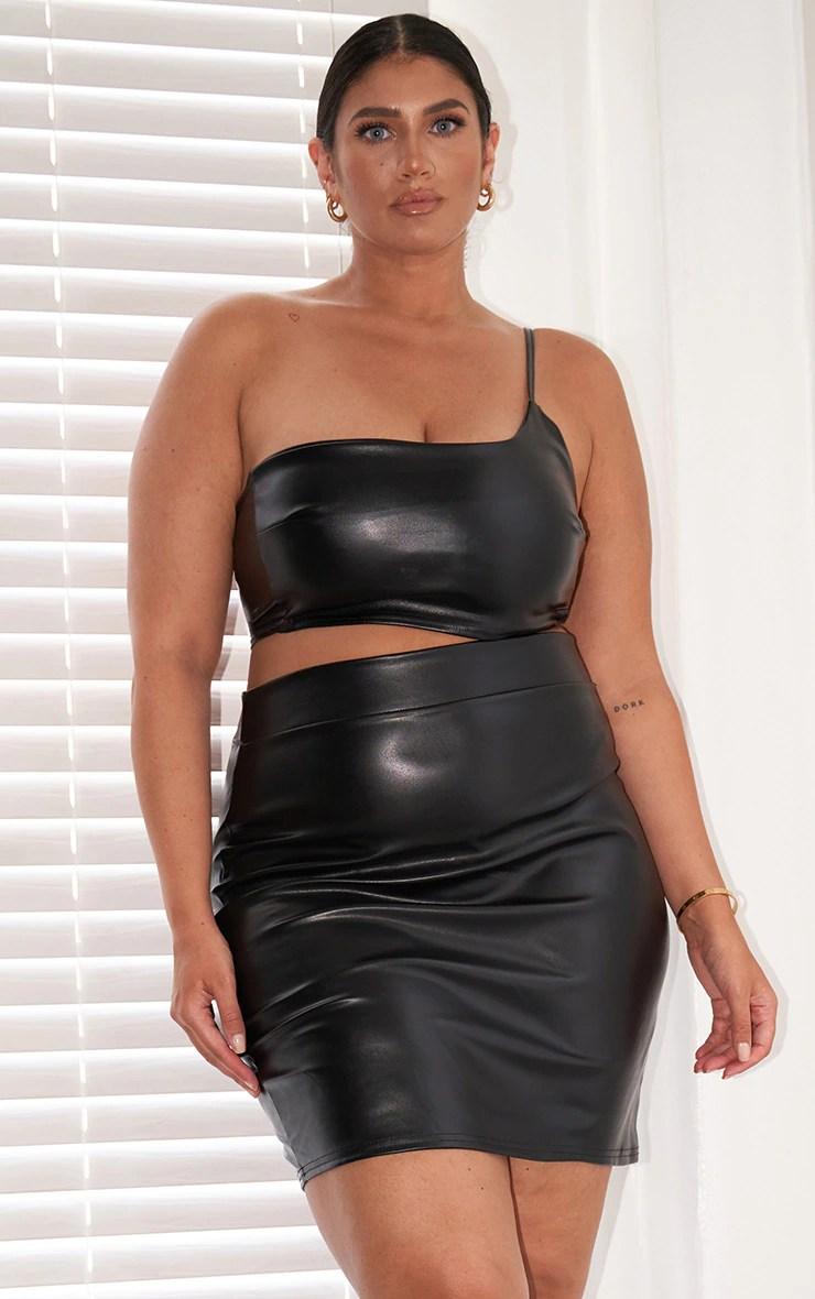 Plus Black Basic Faux Leather Mini Skirt 11