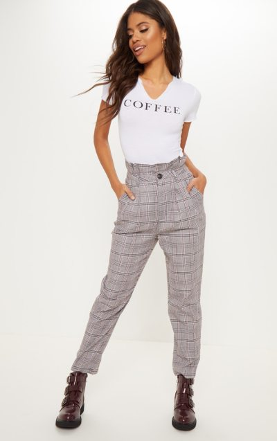 Chocolate Check Paperbag Trouser