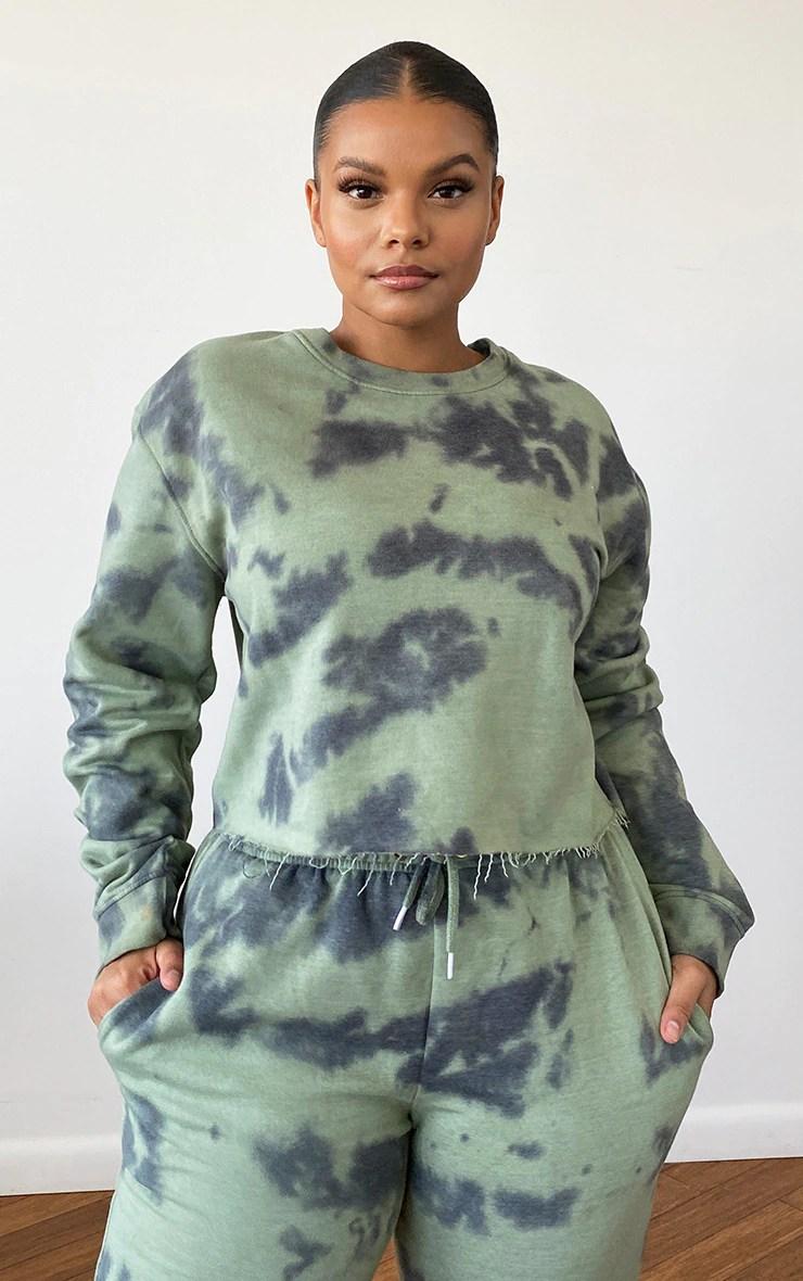 Plus Sage Green Tie Dye Cropped Sweater 5