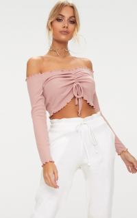Dusty Pink Frill Edge Tie Front Rib Crop Top ...