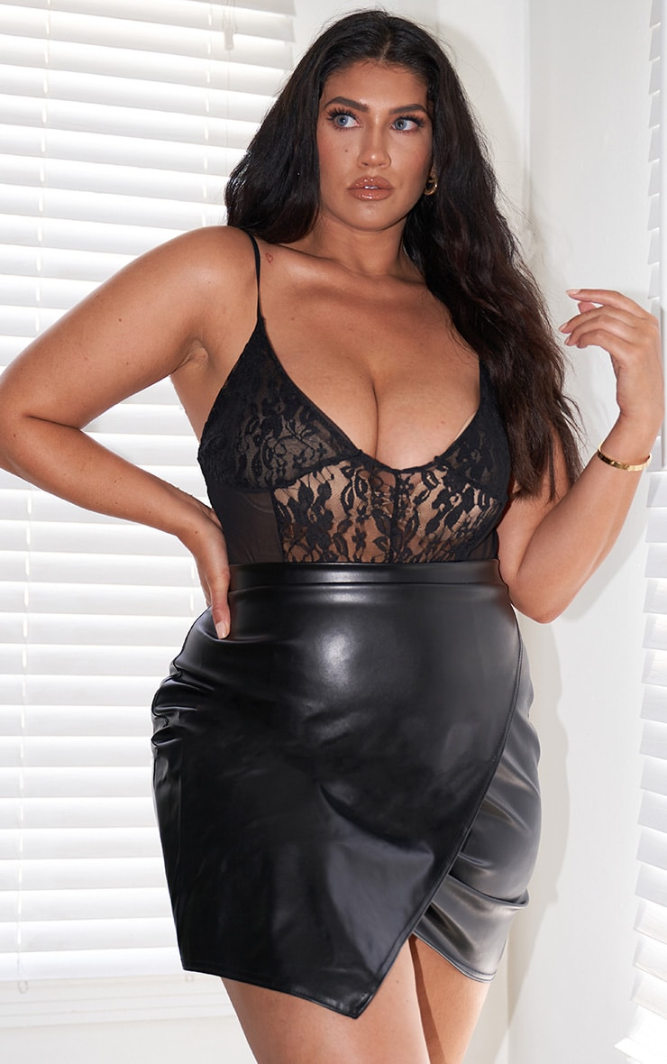 Plus Luisa Black Faux Leather Wrap Mini Skirt 9