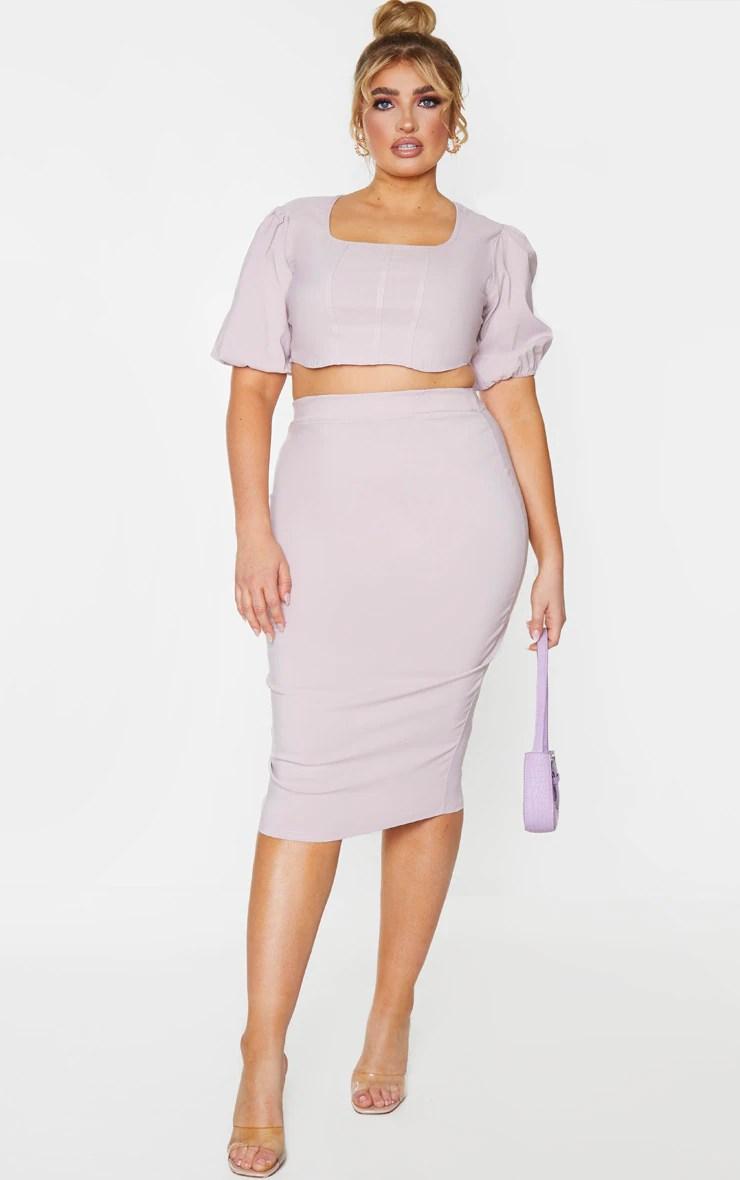 Plus Dusty Pink Stretch Seam Detail Midi Skirt 7