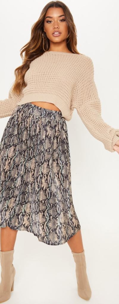 Black Printed Pleated Midi Skirt