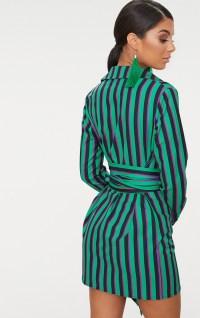 Green Stripe Tie Waist Shirt Dress | PrettyLittleThing USA