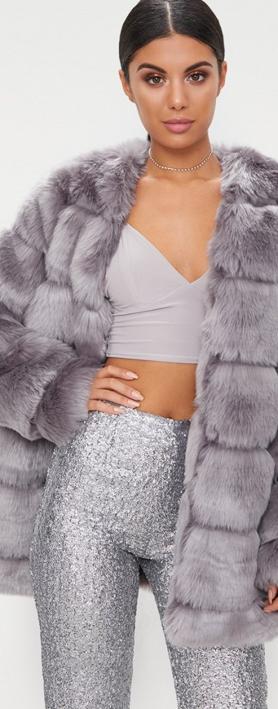 Grey Faux Fur Bubble Coat