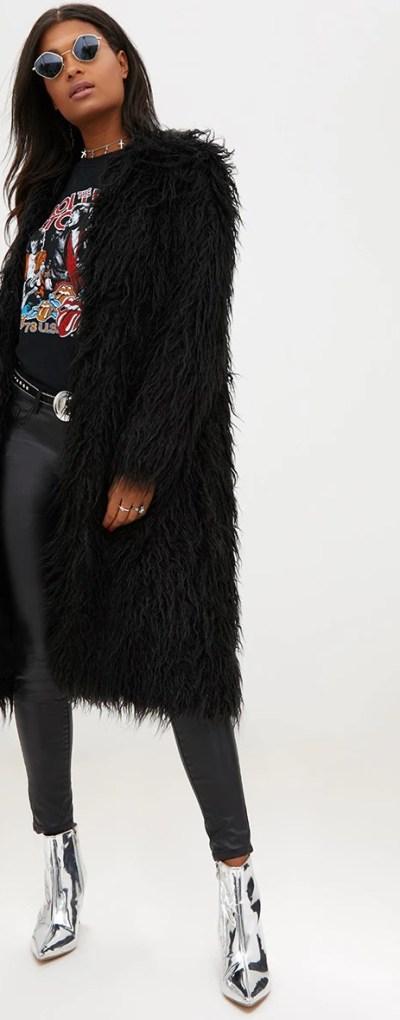 Black Shaggy Longline Faux Fur Coat