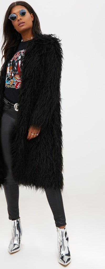Black Shaggy Longline Faux Fur Coat