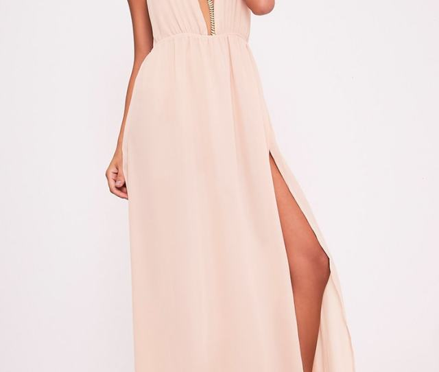 Alina Nude Plunge Maxi Dress Image 1