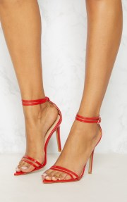 red point toe barely sandal