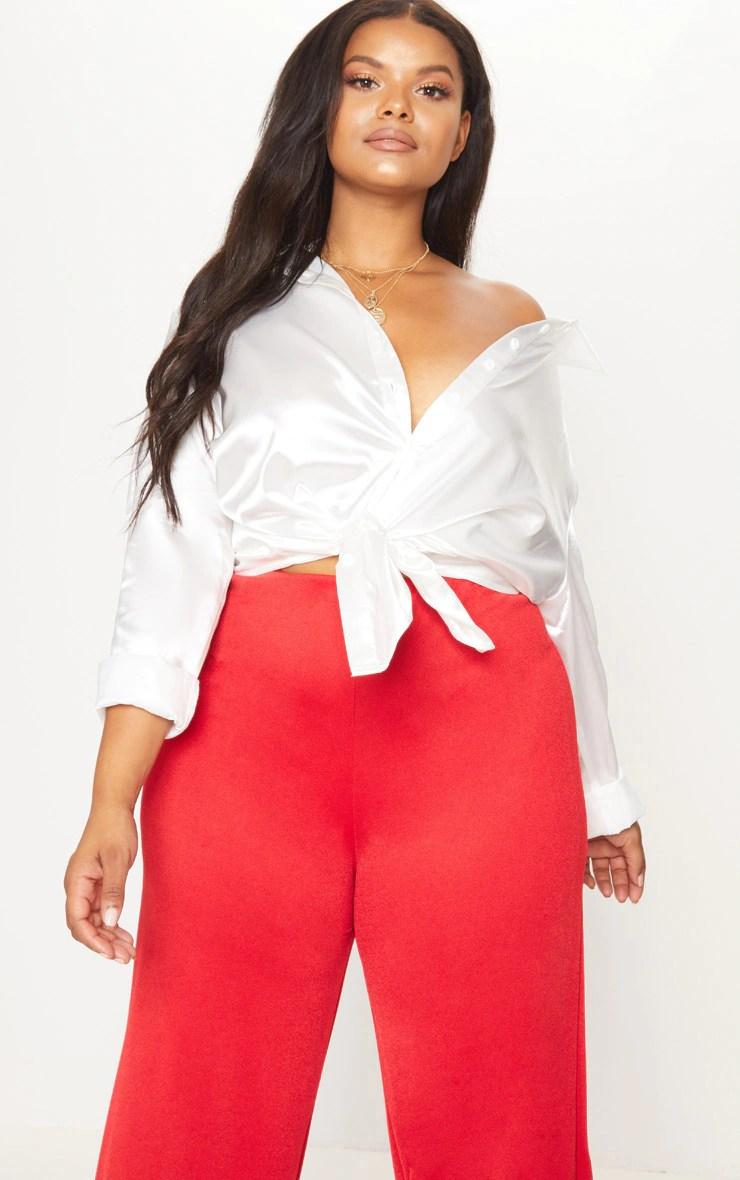 Plus White Satin Button Front Shirt 4