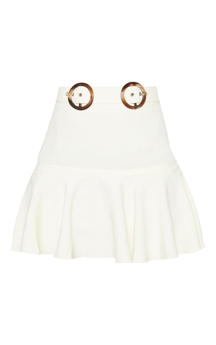 Petite White Peplum Hem Tortoise Belt Skirt