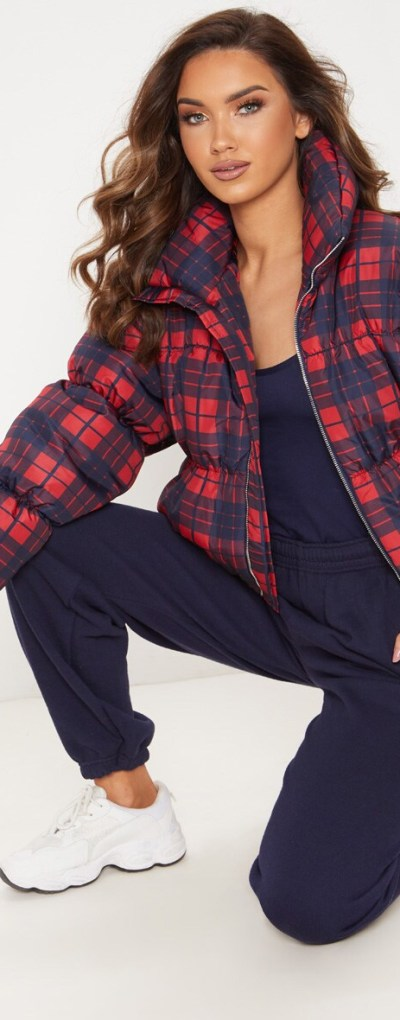 Navy Checked Puffer