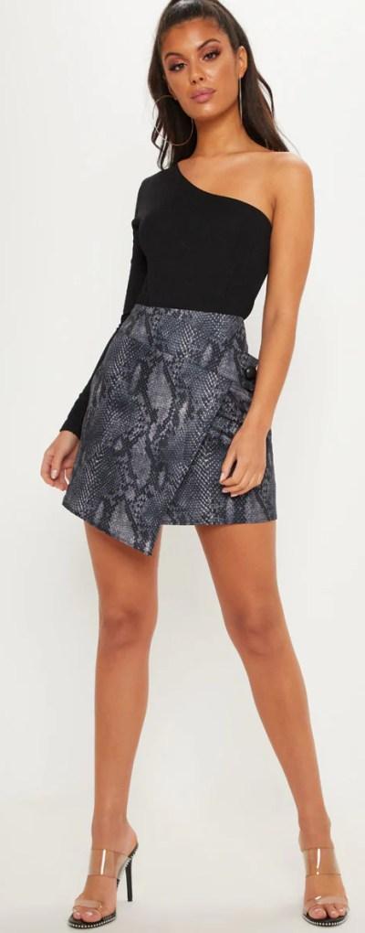 Grey Printed Button Detail Wrap Mini Skirt