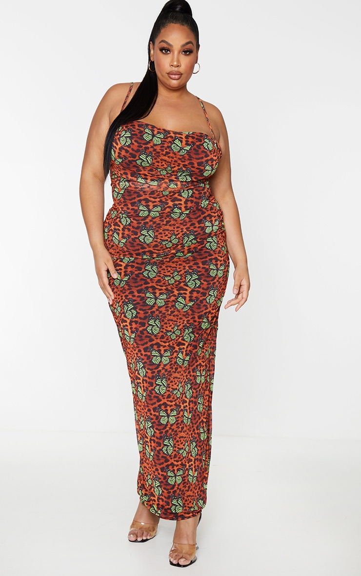 Plus Brown Butterfly Leopard Print Mesh Cowl Maxi Dress 2