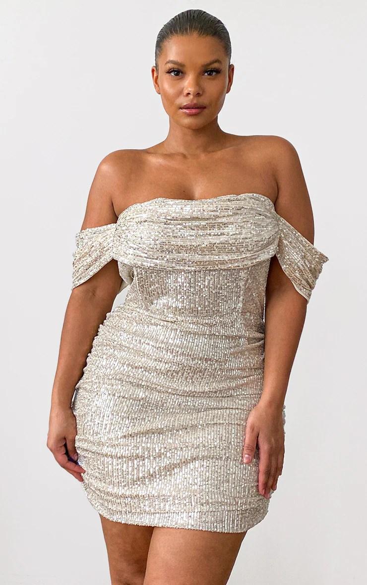 Plus Cream Sequin Bardot Bodycon Dress 10