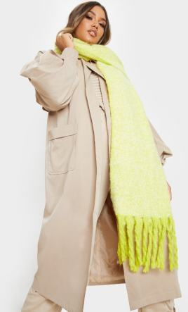 Chunky Long Lime Coloured 'blanket' Scarf.