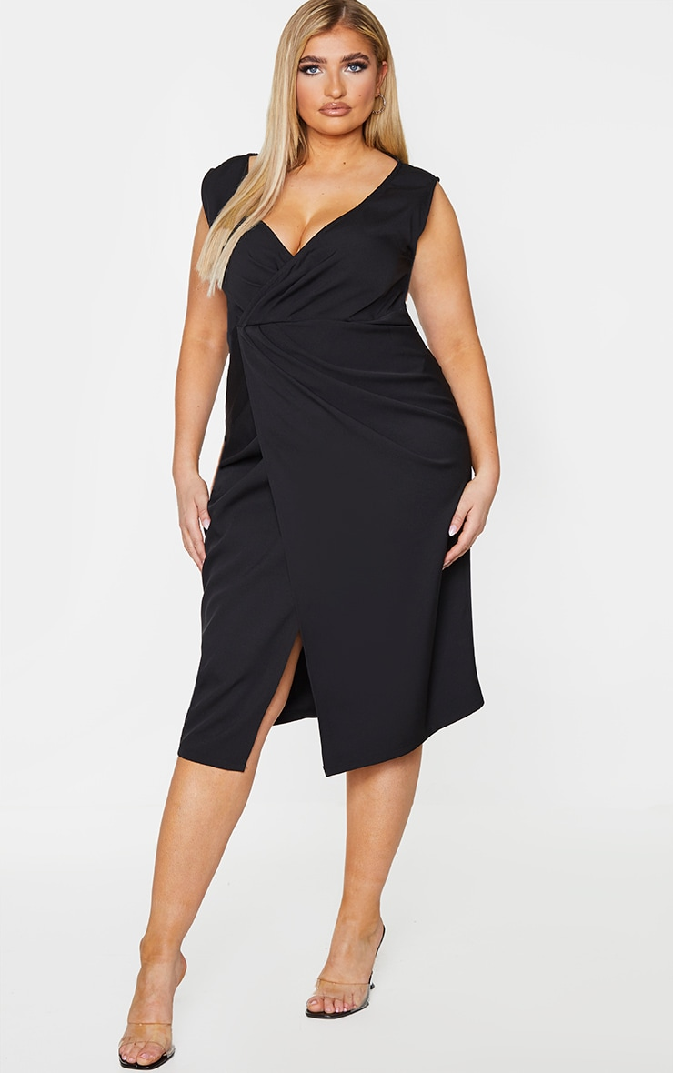 Plus Black Woven Pleat Detail Midi Dress 2