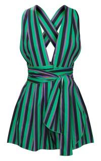 Green Stripe Tie Back Playsuit | PrettyLittleThing