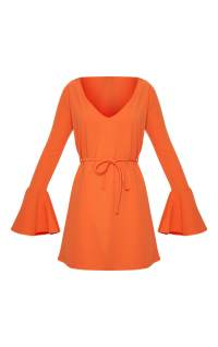 Bright Orange Flared Sleeve Tie Detail Shift Dress ...