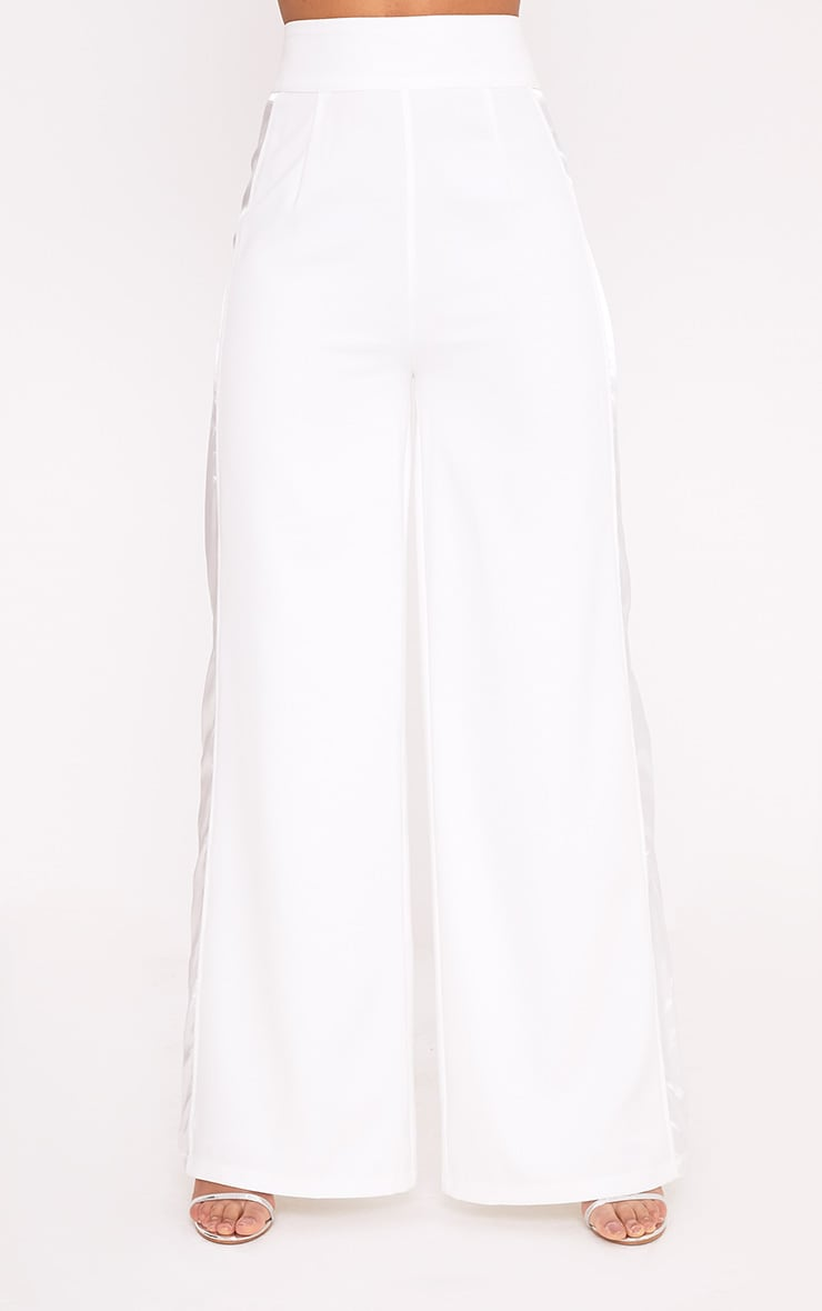 Rayla White Wide Leg Satin Stripe Suit Trousers