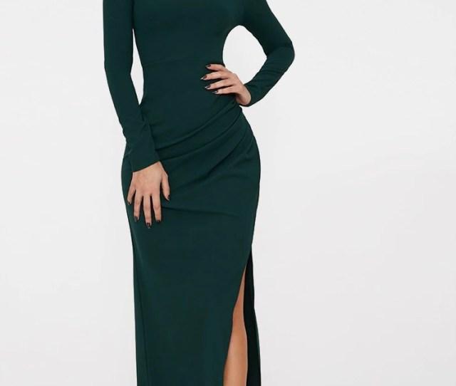 Emerald Green Wrap Over Long Sleeve Bardot Maxi Dress Prettylittlething Usa
