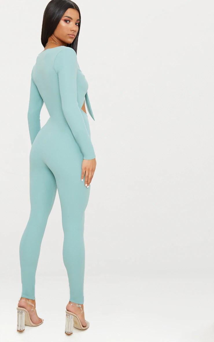 Mint Tie Front Long Sleeve Jumpsuit
