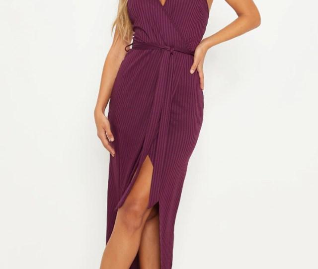 Plum Ribbed Wrap Maxi Dress