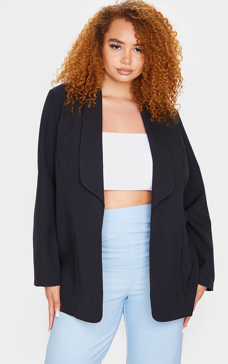 Plus Black Curved Lapel Woven Longline Blazer 11