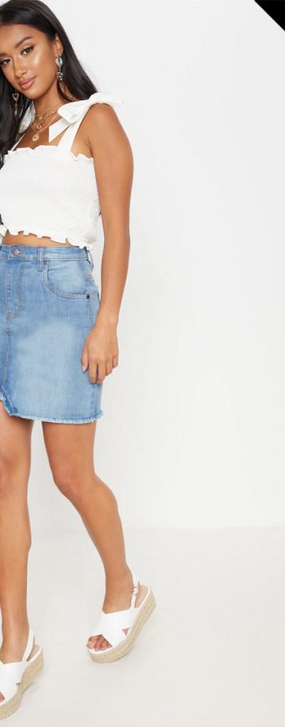 Petite Mid Wash Denim Skirt
