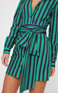 Green Stripe Tie Waist Shirt Dress | PrettyLittleThing