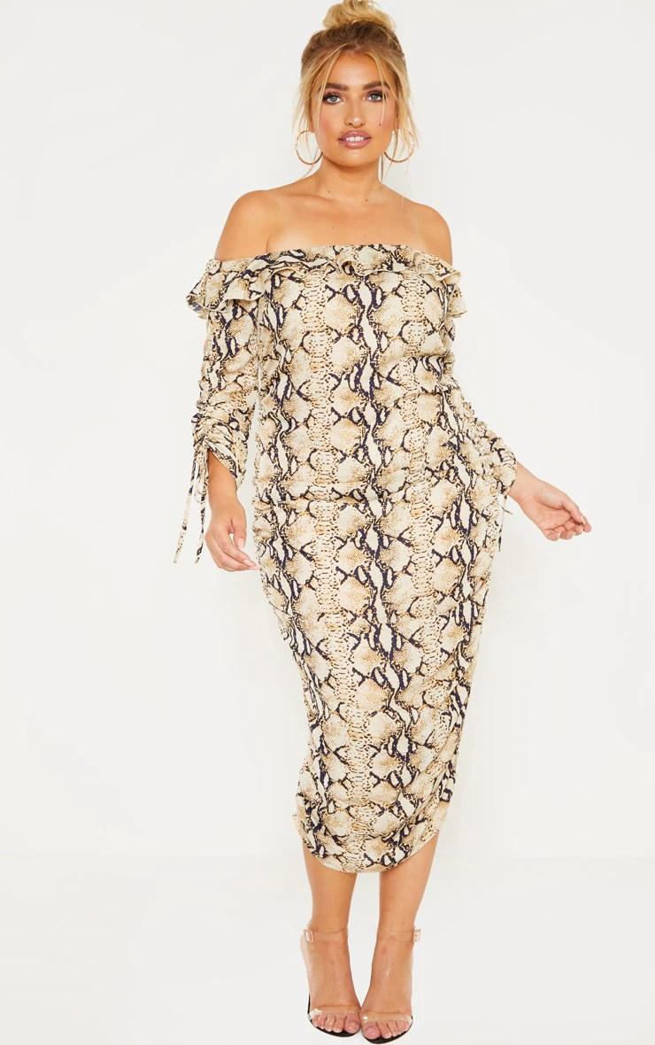 Plus Taupe Snake Print Ruched Side Bardot Dress 4