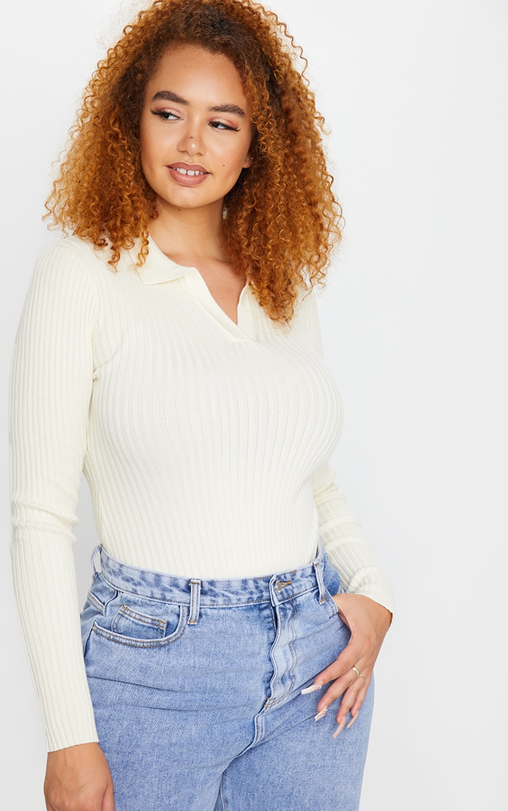 Plus Cream Knit Collar Detail Bodysuit $38.00 7