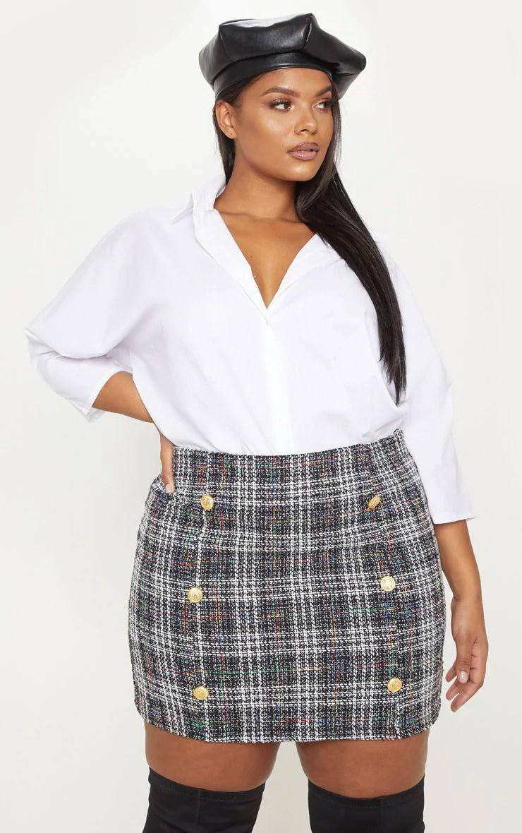 Plus Black Tweed Button Mini Skirt 2
