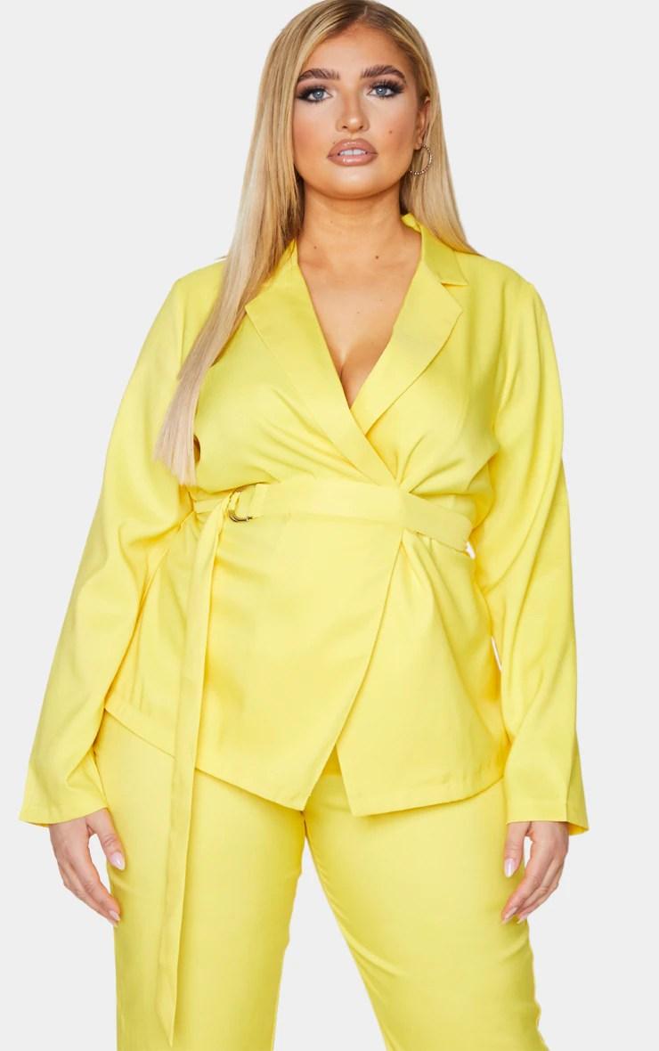 Plus Bright Yellow Woven Belt Detail Blazer 17