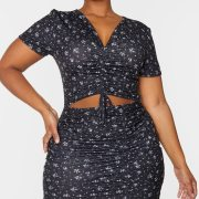 Plus Black Foral Print Jersey Ruched Detail Cut….00