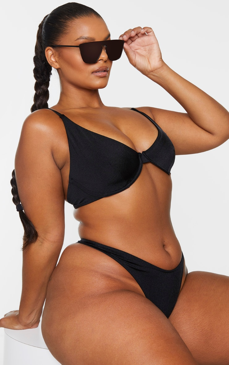 Plus Black Mix & Match Underwired Bikini Top .00