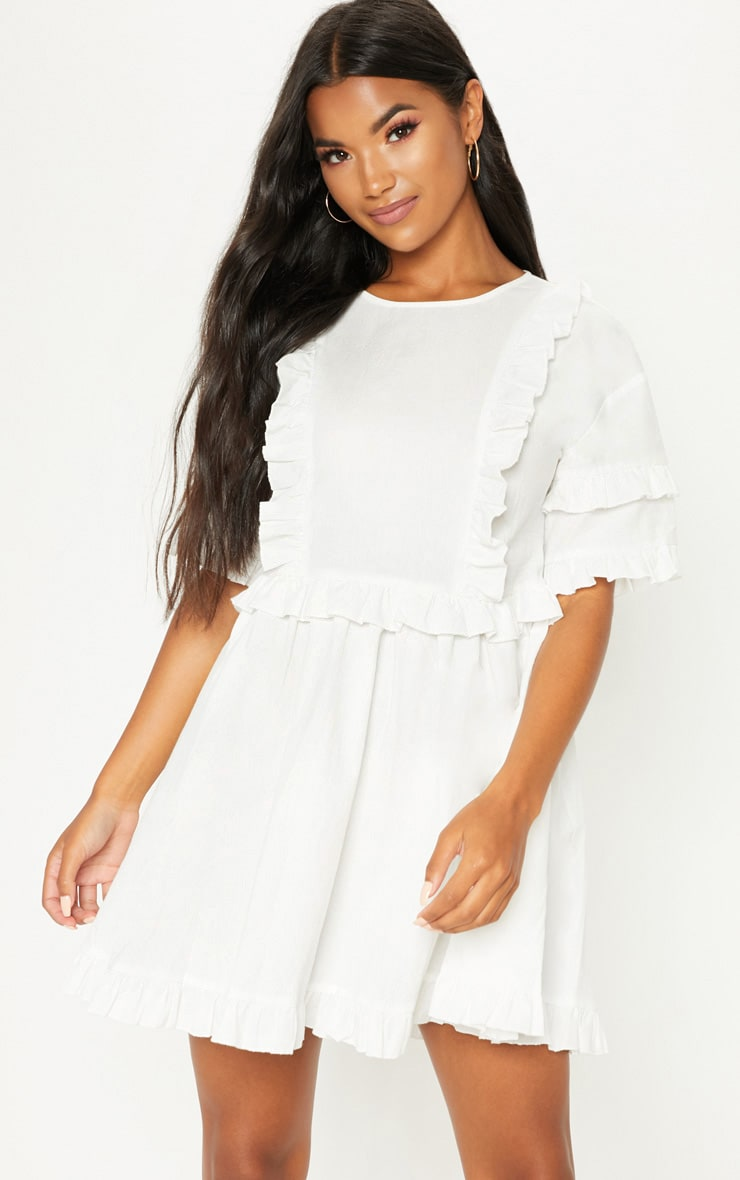 WHITE WOVEN FRILL SPLIT BACK TEA DRESS
