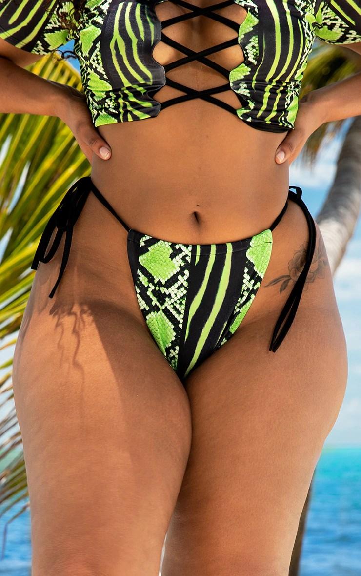 Plus Lime Snake Print Tie Side Bikini Bottom 4