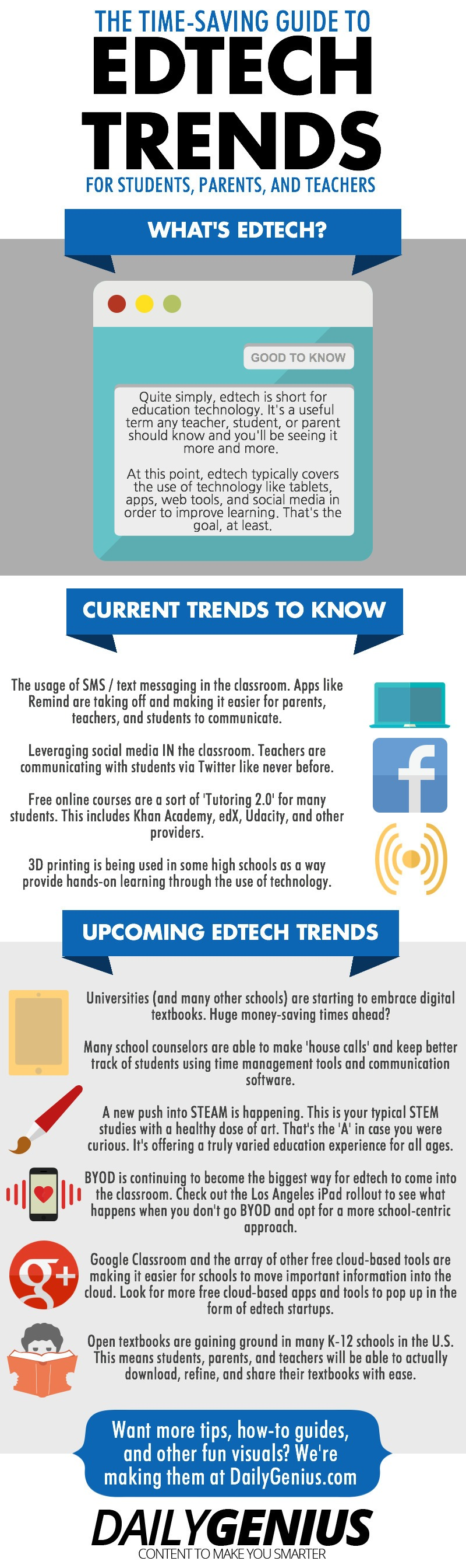 10 Current and Future Edtech Trends Infographic - e-Learning Infographics