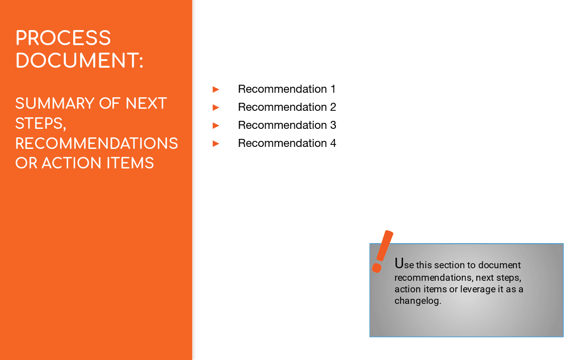 Business Process Documentation Template Section: Recommendations And Action  Items