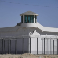 A high-security facility near what is believed to be a 're-education' camp where mostly Muslim ethnic minorities are detained, on the outskirts of Hotan, in China's northwestern Xinjiang region, in May 2019 | AFP-JIJI
