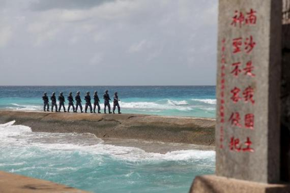 Chinese soldiers patrolling on the Spratly Islands, February 2016