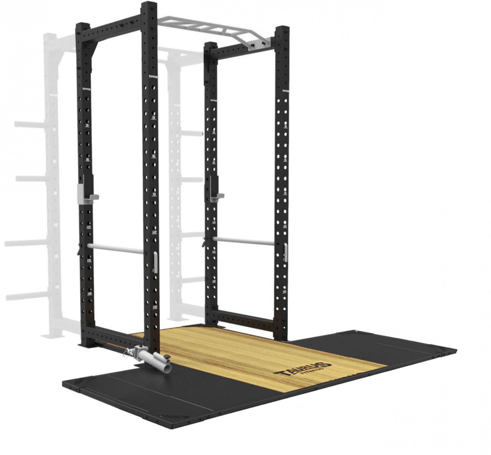 taurus elite power rack with small integrated lifting platform excludes plate storage