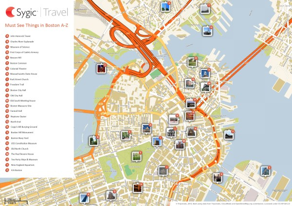 Map of Boston Attractions Sygic Travel