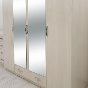 Dormitor modern Dante, PAL melaminat, pat + dulap + noptiere + comoda, stejar ferrara