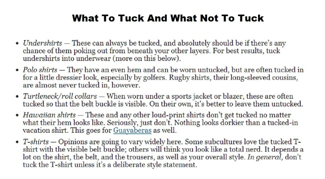What to tuck and what not to tuck