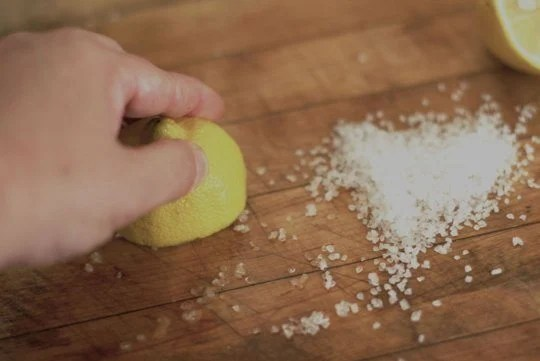 Clean Cutting Board Lemon Juice Salt