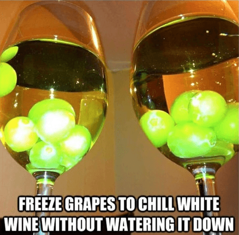 freeze grapes to chill white wine without